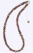 Silver & Pearl - Brown Dyed Freshwater Pearl 41Cm Necklace With Sterling Silver Clasp And 5Cm Extension Chain