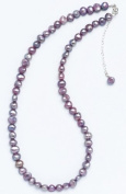 Silver & Pearl - Lilac Dyed Freshwater Pearl 41Cm Necklace With Sterling Silver Clasp And 5Cm Extension Chain