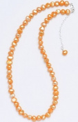 Silver & Pearl - Orange Dyed Freshwater Pearl 41Cm Necklace With Sterling Silver Clasp And 5Cm Extension Chain