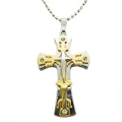Blue Chip Unlimited - Masculine Silver & Gold Coloured 6cm Stainless Steel Cross Pendant with Clear Crystals #2 & 46cm Ball Chain Necklace Fashion Jewellery
