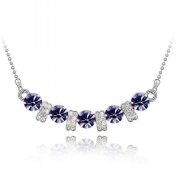 Purple & Clear Crystal Designer Pendant with 46cm White Gold Plated Chain Necklace