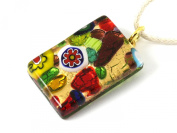 "Murano Glass Pendant made using Millefiori Flowers - Multi on Gold Leaf, 3cm x 2cm on an 18"" Necklace & Includes Gift Box"