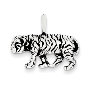 Sterling Silver Antiqued Tiger Charm - JewelryWeb