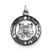 Sterling Silver US Coast Guard Medal Charm - JewelryWeb