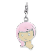 Sterling Silver Enamelled Girl With Lobster Clasp Charm - JewelryWeb
