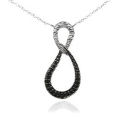 Sterling Silver Black & White Diamond Accent Infinity Necklace