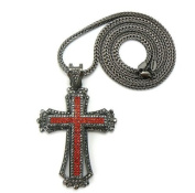Iced Out Rhinestone Paved Cross Pendant w/Franco Necklace HE/RD/HE MP430