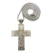 """New Iced Out Silver Paved Cross Pendant w/4mm 36"""" Franco Chain MP825R"""
