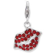 Sterling Silver Lips With Lobster Clasp Charm - JewelryWeb