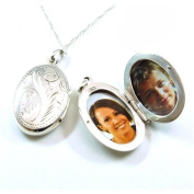 """The Olivia Collection Sterling Silver 22mm Oval Engraved Locket on 18"""" Chain"""
