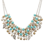 Bedazzled Gatsby Style Antique Turquoise, Cream and Gold Beads Necklace with Silver Colour Charms - Gift Boxed