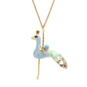 Small porcelain peacock pendant/handmade and handpainted with 24K gold, silver and colour, embellished with. crystal detail, come with 41cm gold plated necklace