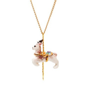 Small porcelain deer pendant/handmade and handpainted with 24K gold, silver and colour, embellished with. crystal detail, come with 41cm gold plated necklace