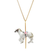 Small porcelain horse pendant/handmade and handpainted with 24K gold, silver and colour, embellished with. crystal detail, come with 41cm gold plated necklace