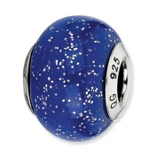 Sterling Silver Reflections Dark Blue With Silver Glitter Italian Murano Bead Charm - JewelryWeb