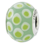 Sterling Silver Reflections Green White Italian Murano Glass Bead Charm - JewelryWeb