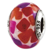 Sterling Silver Reflections Pink Purple Red Italian Murano Glass Bead Charm - JewelryWeb