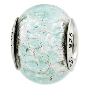 Sterling Silver Reflections Light Teal Italian Murano Glass Bead Charm - JewelryWeb
