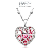 Blue Pearls - Pink Crystal Heart Pendant. Elements CRY E706 J Rose