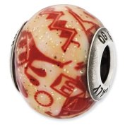 Sterling Silver Reflections Italian Decorative Red Glass Bead Charm - JewelryWeb