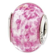 Sterling Silver Reflections Pink Italian Murano Glass Bead Charm - JewelryWeb