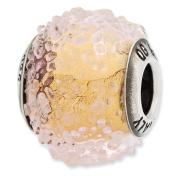 Sterling Silver Reflections Italian Yellow Textured Glass Bead Charm - JewelryWeb