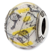 Sterling Silver Reflections Italian Decorative Yellow and White Glass Bead Charm - JewelryWeb