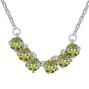 Citron Yellow Crystal Six Stone Pendant with 46cm White Gold Plated Chain Necklace