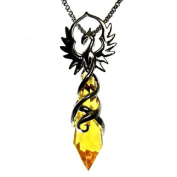 Phoenix Flame Amber Crystal Keeper Pendant Necklace
