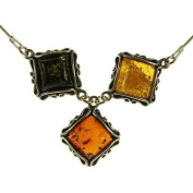 """18"""" inch/45cm BALTIC AMBER AND STERLING SILVER 925 LADIES DESIGNER MULTI-COLOURED PENDANT NECKLACE JEWELLERY jewellery WITH STERLING SILVER 925 STAMPED ITALIAN DESIGNER SNAKE LINK STYLE CHAIN WITH SPRING RING CLASP"""