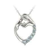 Sterling Silver Blue Topaz & Diamond Accent Mother and Baby Heart Necklace