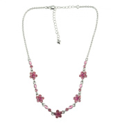 NYK delicate pink diamante floral necklace