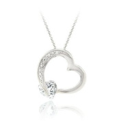 Sterling Silver 1.4ct White Topaz & Diamond Accent Floating Open Heart Necklace