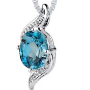 Revoni 1.50 cts Oval Cut London Blue Topaz Pendant in Sterling Silver