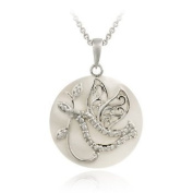 Sterling Silver Diamond Accent Mother of Pearl & Dove Charm Necklace