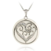 Sterling Silver Diamond Accent Mother of Pearl & Heart Charm Necklace