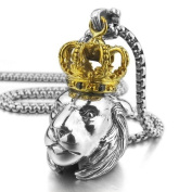 Justeel Men 925 Sterling Silver Pendant Necklace CZ Silver Gold Crown Lion Biker (with Gift Bag) (Width