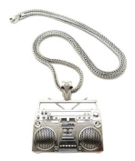 "Hot Celebrity Style Shiny Silver Boombox Pendant w/4mm 36"" Franco Chain Necklace MP889R"