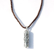 Hamsa Mezuzah Case Jewish Charm Necklace for Men by MIZZE