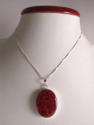 Stunning 925 silver surround pendant and chain - oval poppy pendant - design 13266