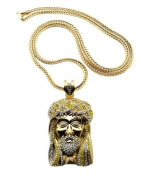 """New Iced Out Gold/Yellow Colour Crowned Jesus Face Pendant w/4mm 36"""" Franco Chain Necklace XP474GYL"""