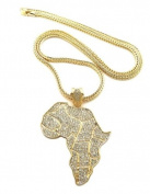 """New Unique Gold All Over Rhinestone Africa Continent Pendant Necklace w/ 4mm 36"""" Franco Chain XP550G"""