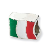 Sterling Silver Reflections Italy Flag Bead Charm - JewelryWeb