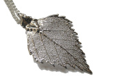 Real Birch leaf silver pendant necklace