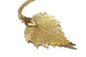 Real Birch leaf gold pendant necklace