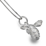 Sterling Silver Textured Bee Pendant Necklace