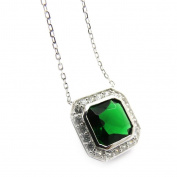"Necklace silver ""Sissi"" emerald green."