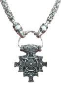 Viking Pagan Hiddensee Hammer Pewter Pendant on Dragon Headed Chain