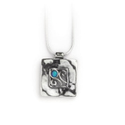 Aviv Ladies Square Cut-out Pendant With Opal Stone Necklace