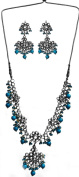 Faux Turquoise Kundan Necklace with Earrings Set - Copper Alloy with Cut Glass